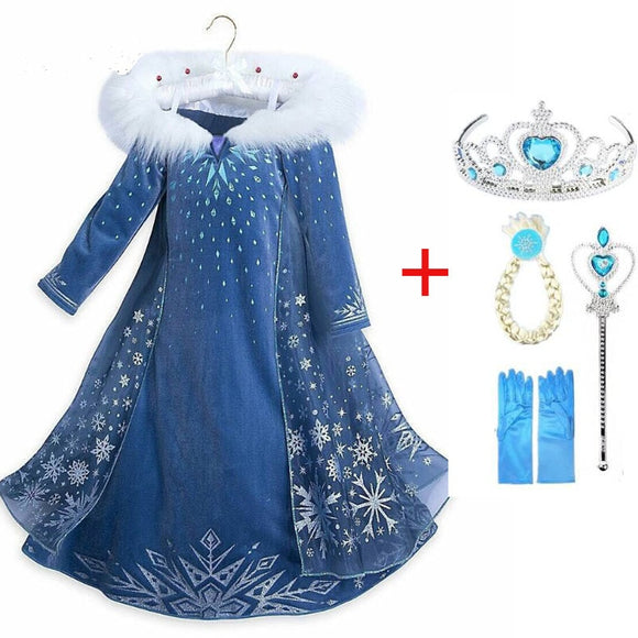 Elsa Dress Party Cosplay Girl Clothing Anna Snow Queen Print Birthday Princess Dress Kids Costume