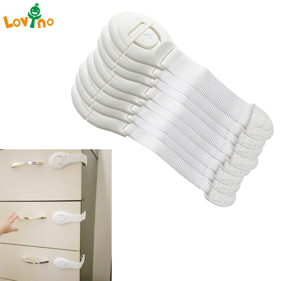 10pcs/Lot Drawer Door Cabinet Cupboard Toilet Safety Locks Plastic Locks Straps Infant Baby Protection