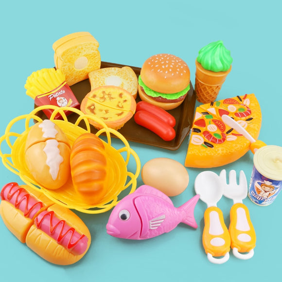 Children Kitchen Cutting Toys Pizza Hamburger Bread Fast Food Pretend Play