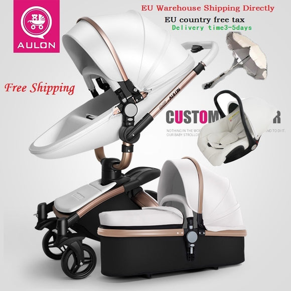 Aulon/Dearest No Tax Luxury Baby Stroller 3 in 1 Fashion Carriage European Pram Suit for Lying and Seat