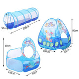 3 in 1 Set Foldable Kids Crawling Tunnel + Play Tents + Baby Ocean Ball Play House Set