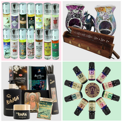 A range of Aromatherapy, including Essential Oils, Perfume Oils, Oil Burners, Incense Holders, Incense and Kama products