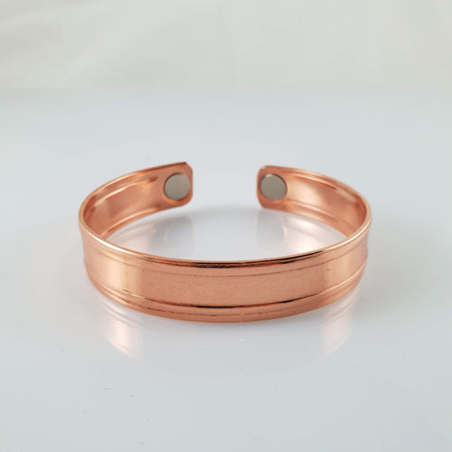 Handmade NZ Pure Copper Bracelet with Stripe - Rivendell Shop NZ