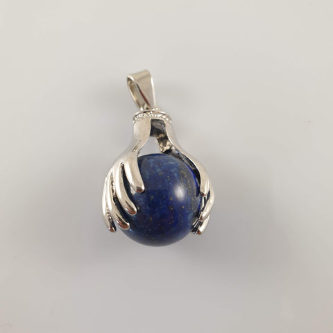 Large Oval Iolite 925 Stirling Silver Pendant
