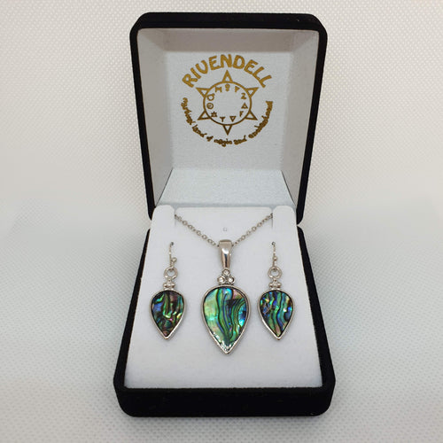 Paua Necklace and Earrings Set - Rivendell Shop NZ