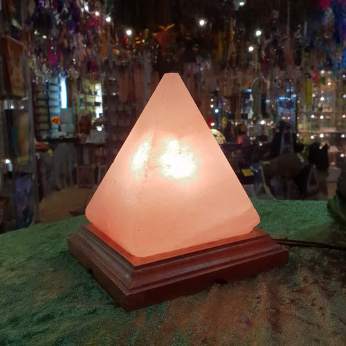 Carved Himalayan Salt Lamp - Pyramid Shape - Rivendell Shop
