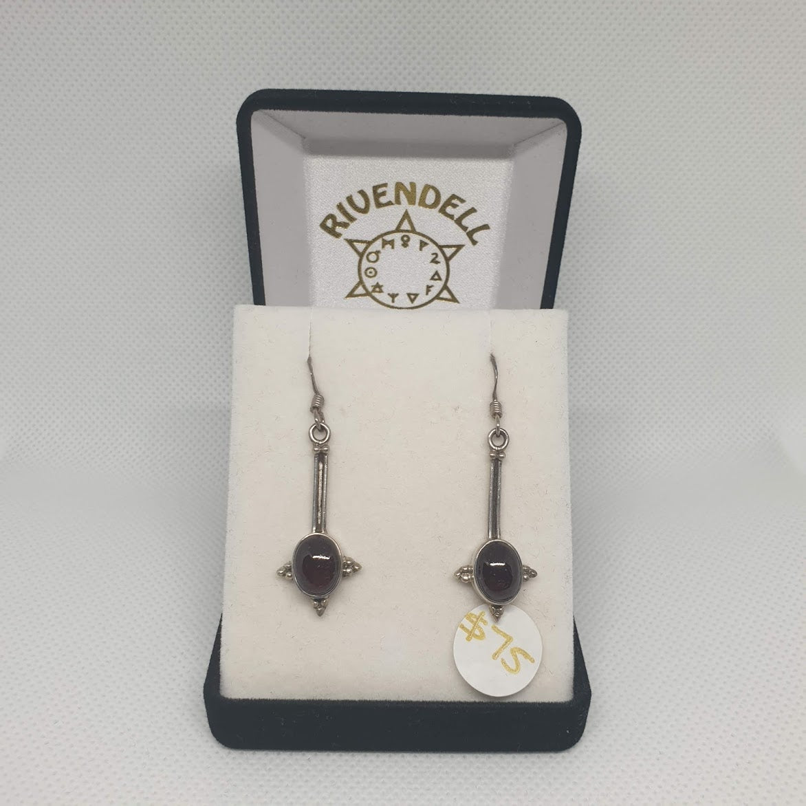 Garnet 925 Sterling Silver Drop Earrings 1 - Rivendell Shop