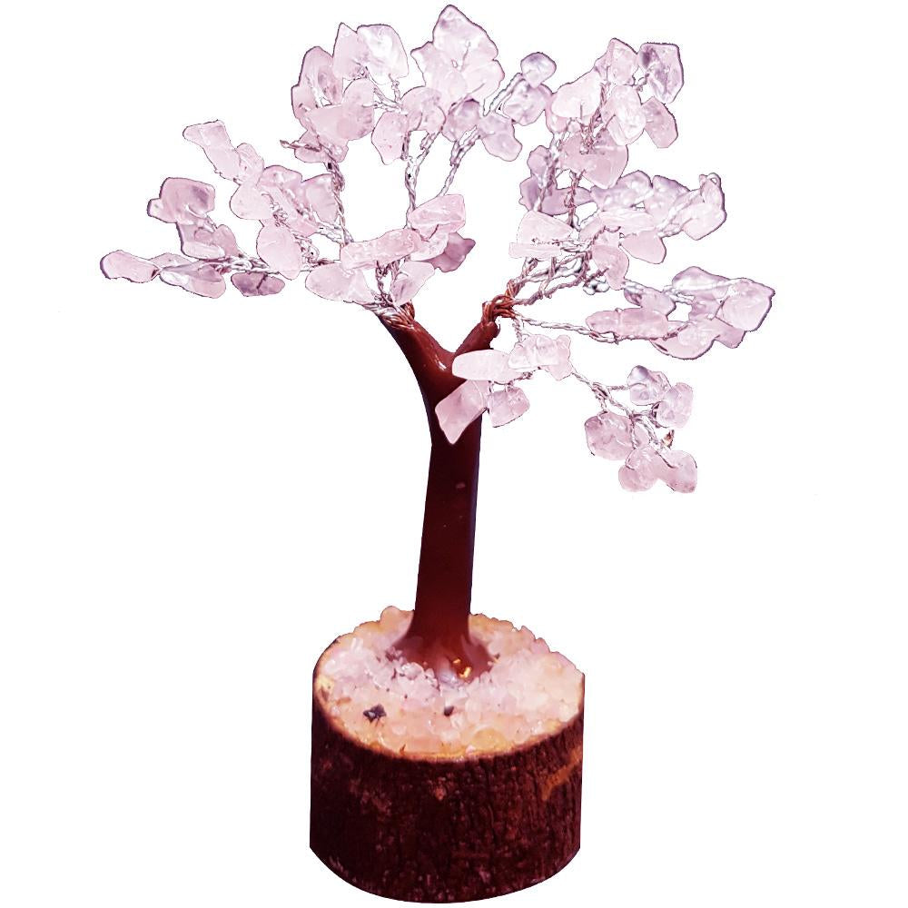 Rose Quartz Crystal Tree on Wooden Base (Small) - Rivendell Shop NZ