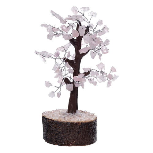 Rose Quartz Crystal Tree on Wooden Base (Medium) - Rivendell Shop