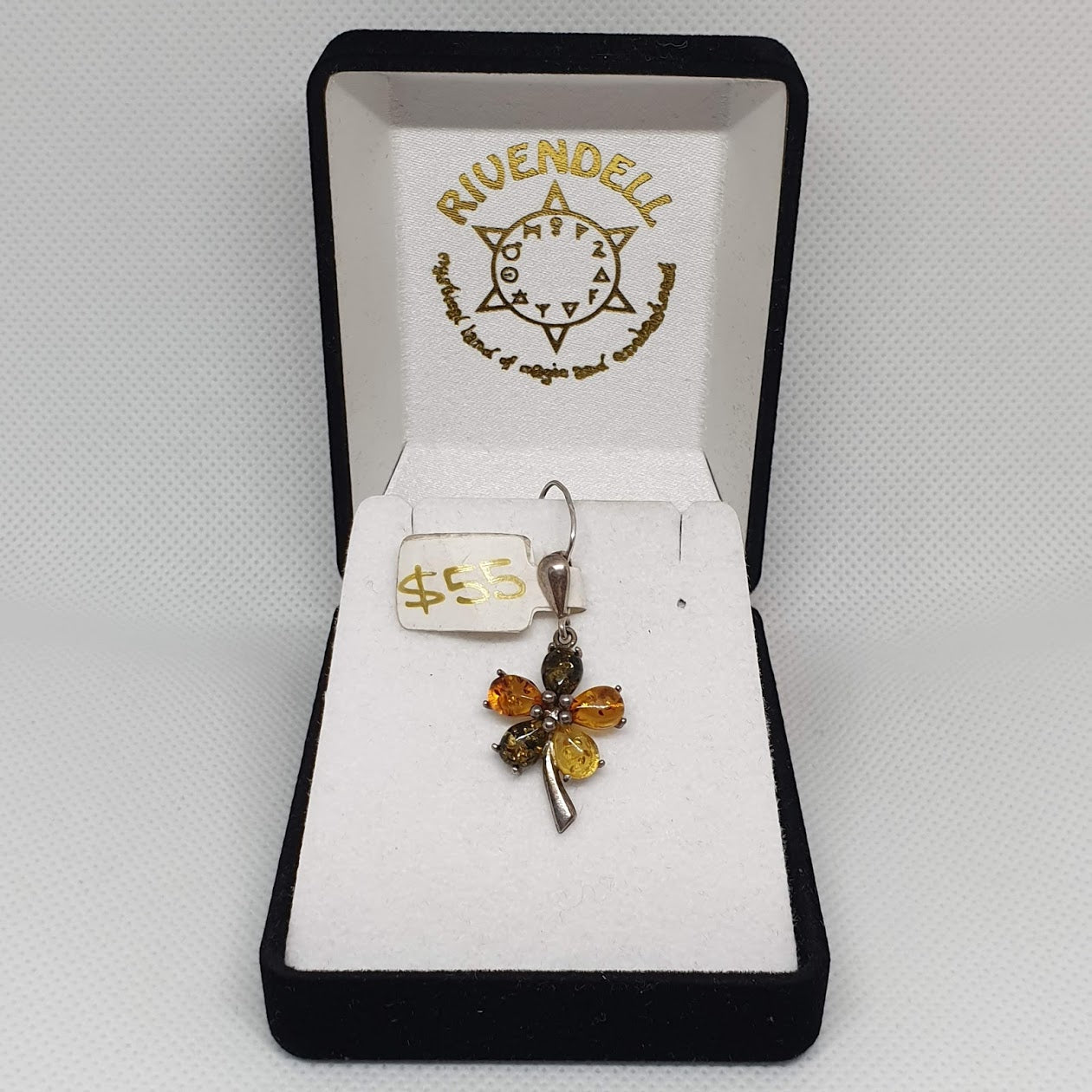 Multi-coloured Amber Flower 925 Sterling Silver Pendant - Rivendell Shop NZ