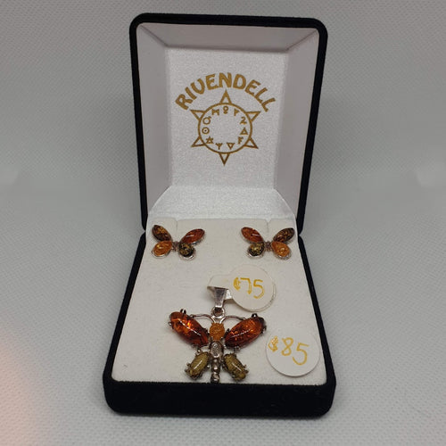 Amber Butterfly 925 Sterling Silver Pendant - Rivendell Shop NZ