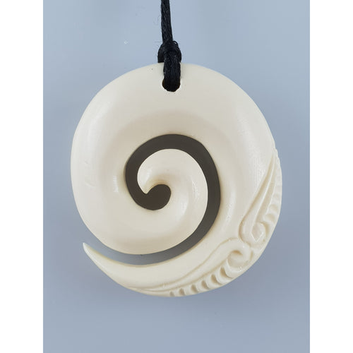 Handcarved Bone Koru Pendant - Rivendell Shop NZ