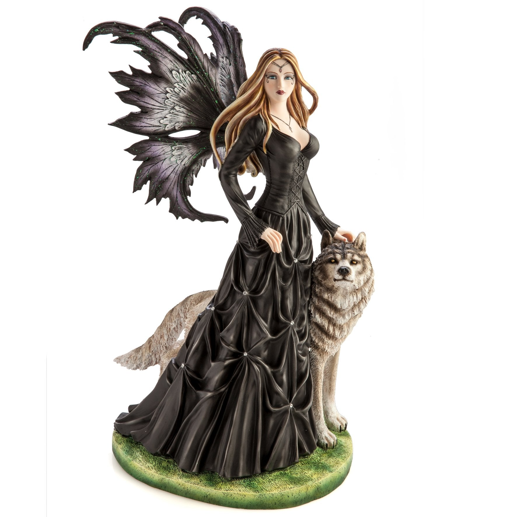 Large Black Fairy Princess with White Wolf - Rivendell Shop NZ