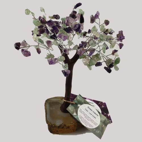 Green Calcite and Amethyst Crystal Tree on Agate Base - Rivendell Shop