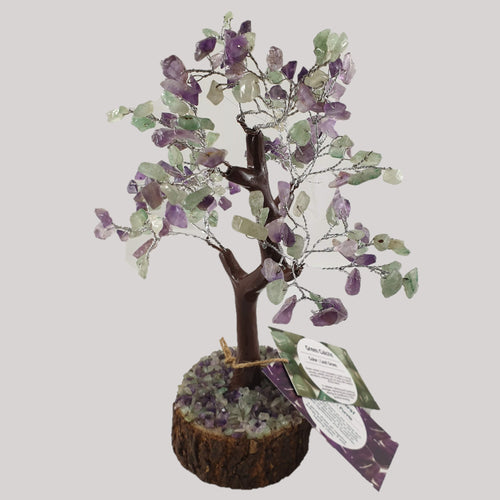Green Calcite and Amethyst Crystal Tree on Wooden Base - Rivendell Shop