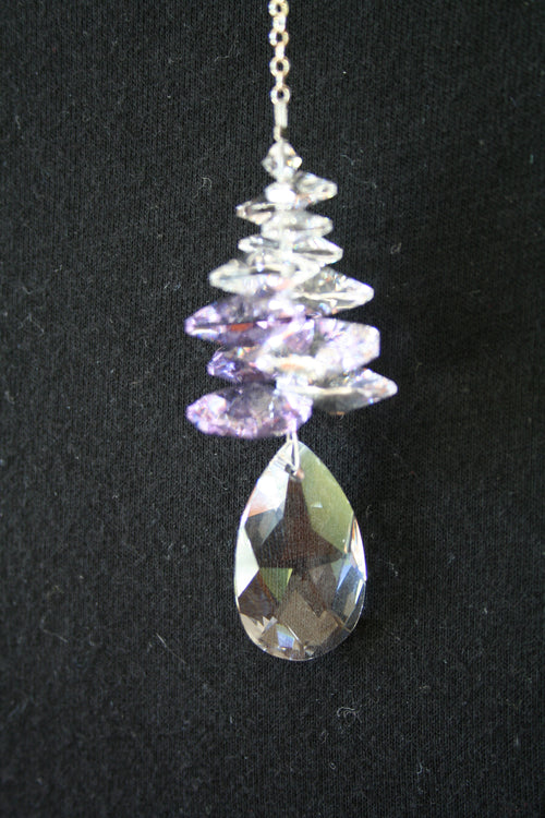 Clarus Ice Drewdrop Swarovski Crystal 28mm - Violet - Rivendell Shop NZ