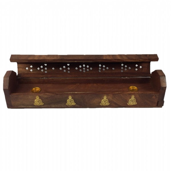 Wooden Incense Holder and Box with Buddha Design - Rivendell Shop NZ