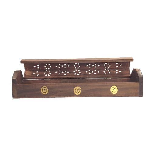 Wooden Incense Holder and Box with Koru Design - Rivendell Shop NZ