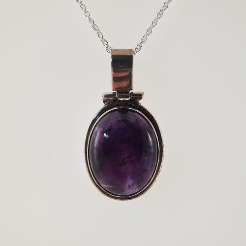Large Amethyst 925 Stirling Silver Pendant - Rivendell Shop