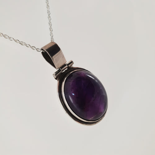 Large Amethyst 925 Stirling Silver Pendant