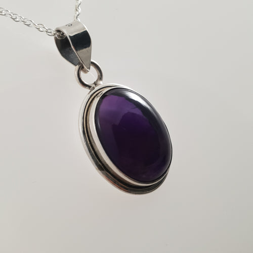 Oval Amethyst 925 Stirling Silver Pendant - Rivendell Shop