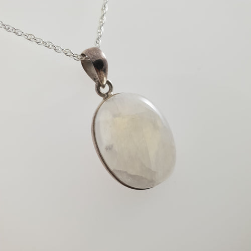 Oval Moonstone 925 Stirling Silver Pendant - Rivendell Shop