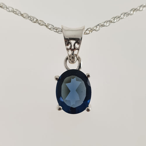 Petite Oval Iolite 925 Stirling Silver Pendant - Rivendell Shop