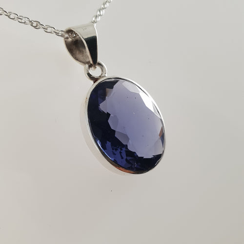 Medium Oval Iolite 925 Stirling Silver Pendant