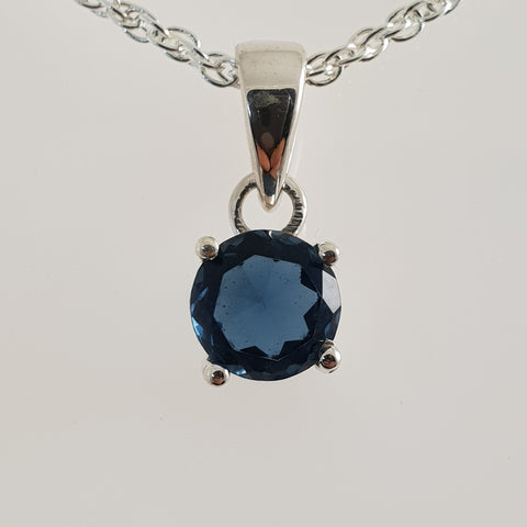 Blue Goldstone Crystal Point Pendant