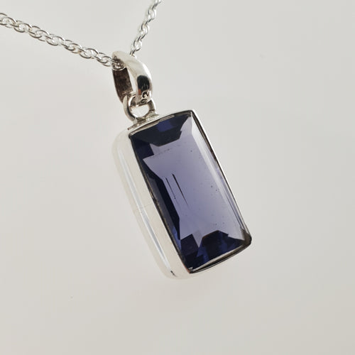 Rectangle Round Iolite 925 Stirling Silver Pendant - Rivendell Shop
