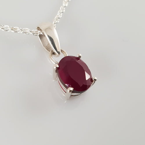 Oval Ruby 925 Stirling Silver Pendant