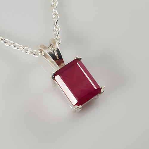 Rectangle Ruby 925 Stirling Silver Pendant