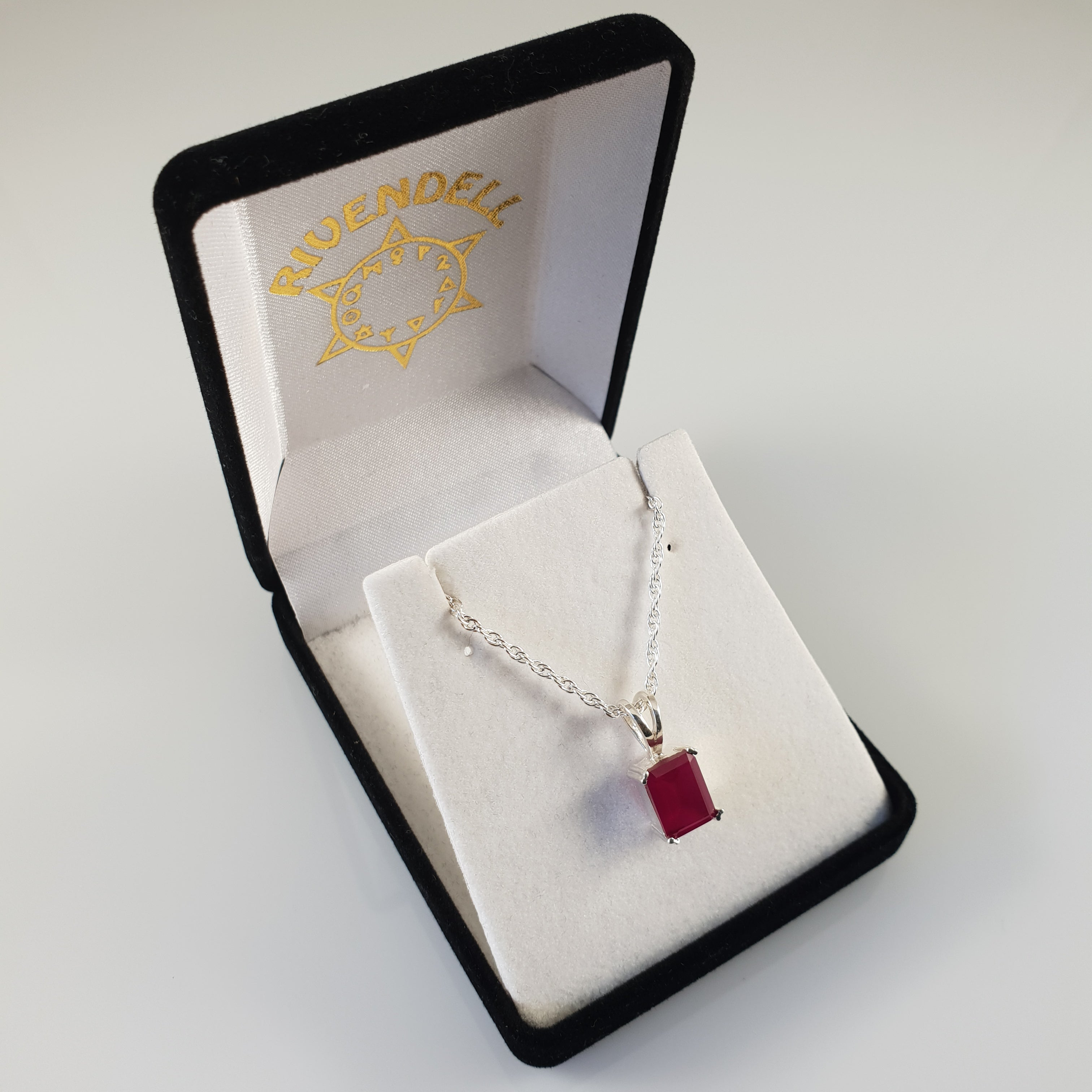 Rectangle Ruby 925 Stirling Silver Pendant - Rivendell Shop