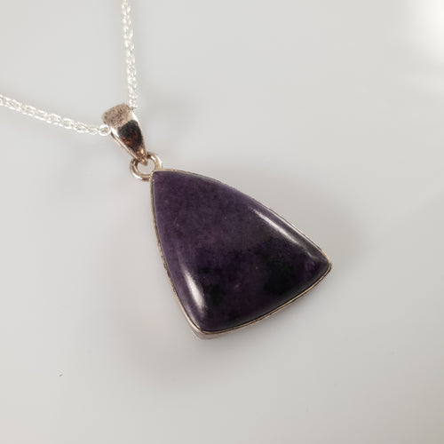 Triangle Charoite 925 Stirling Silver Pendant - Rivendell Shop