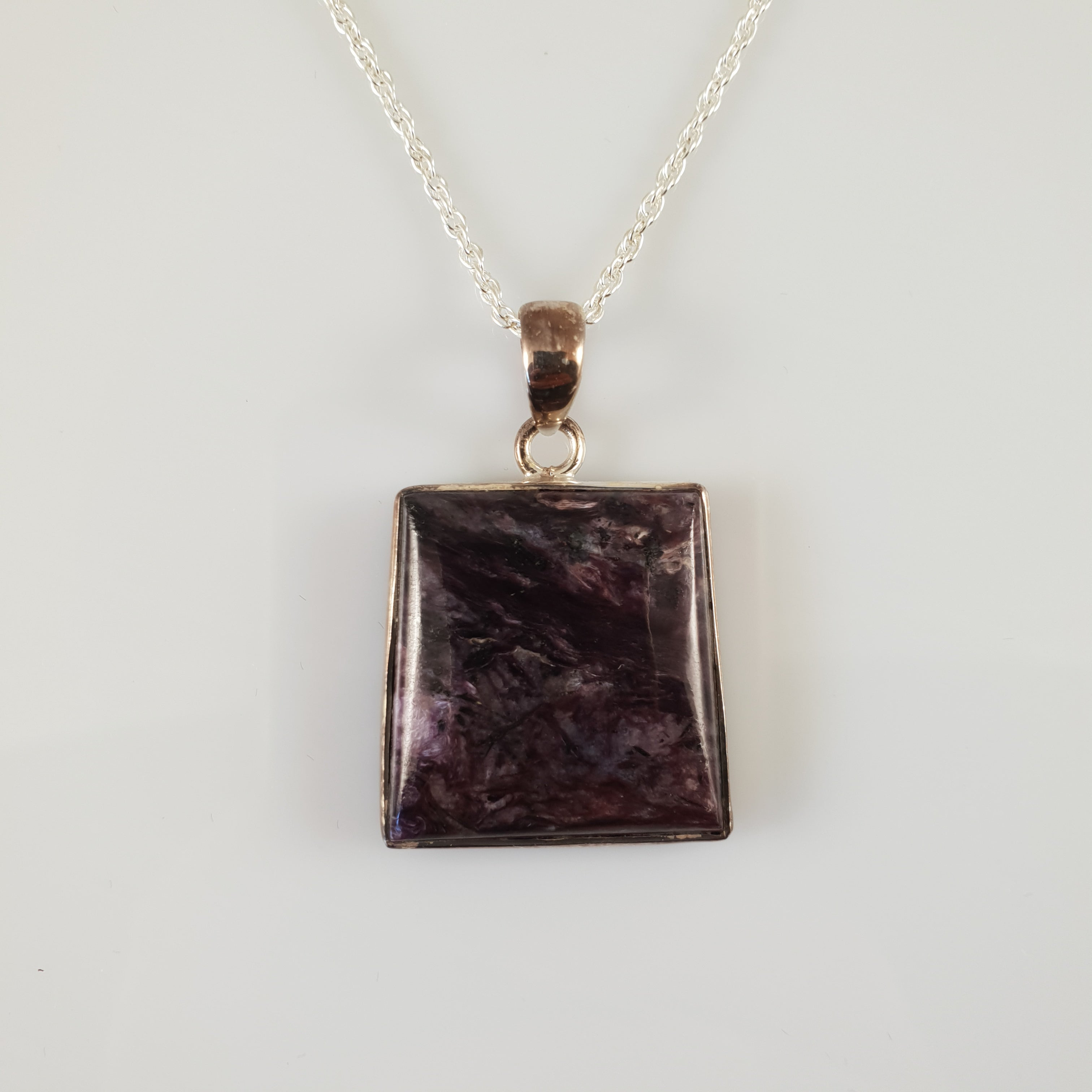 Square Charoite 925 Stirling Silver Pendant - Rivendell Shop NZ