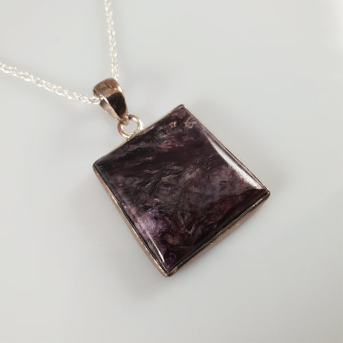 Square Charoite 925 Stirling Silver Pendant - Rivendell Shop