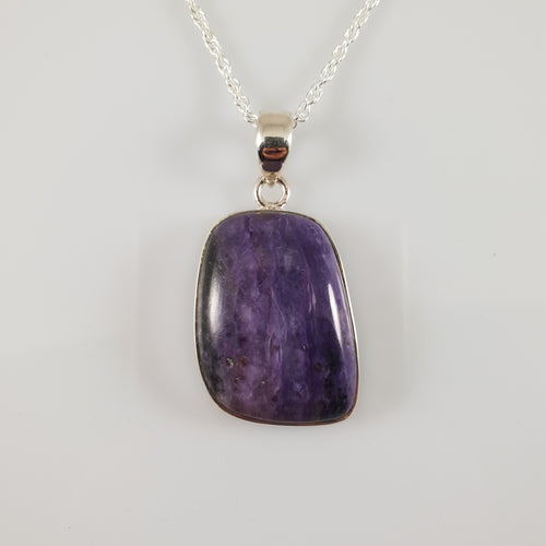 """Ana"" Charoite 925 Stirling Silver Pendant - Rivendell Shop"
