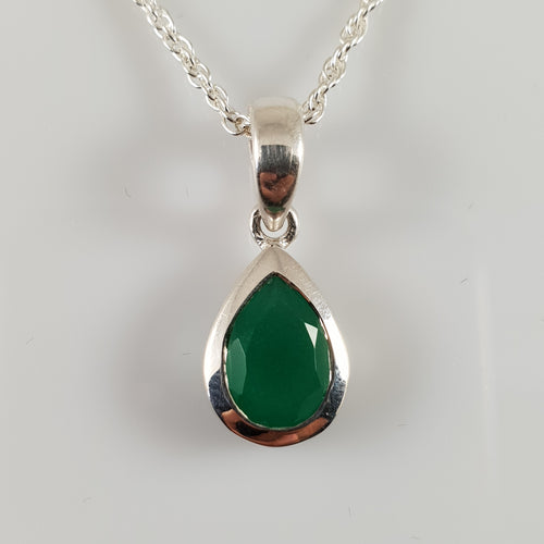 Teardrop Emerald 925 Stirling Silver Pendant - Rivendell Shop