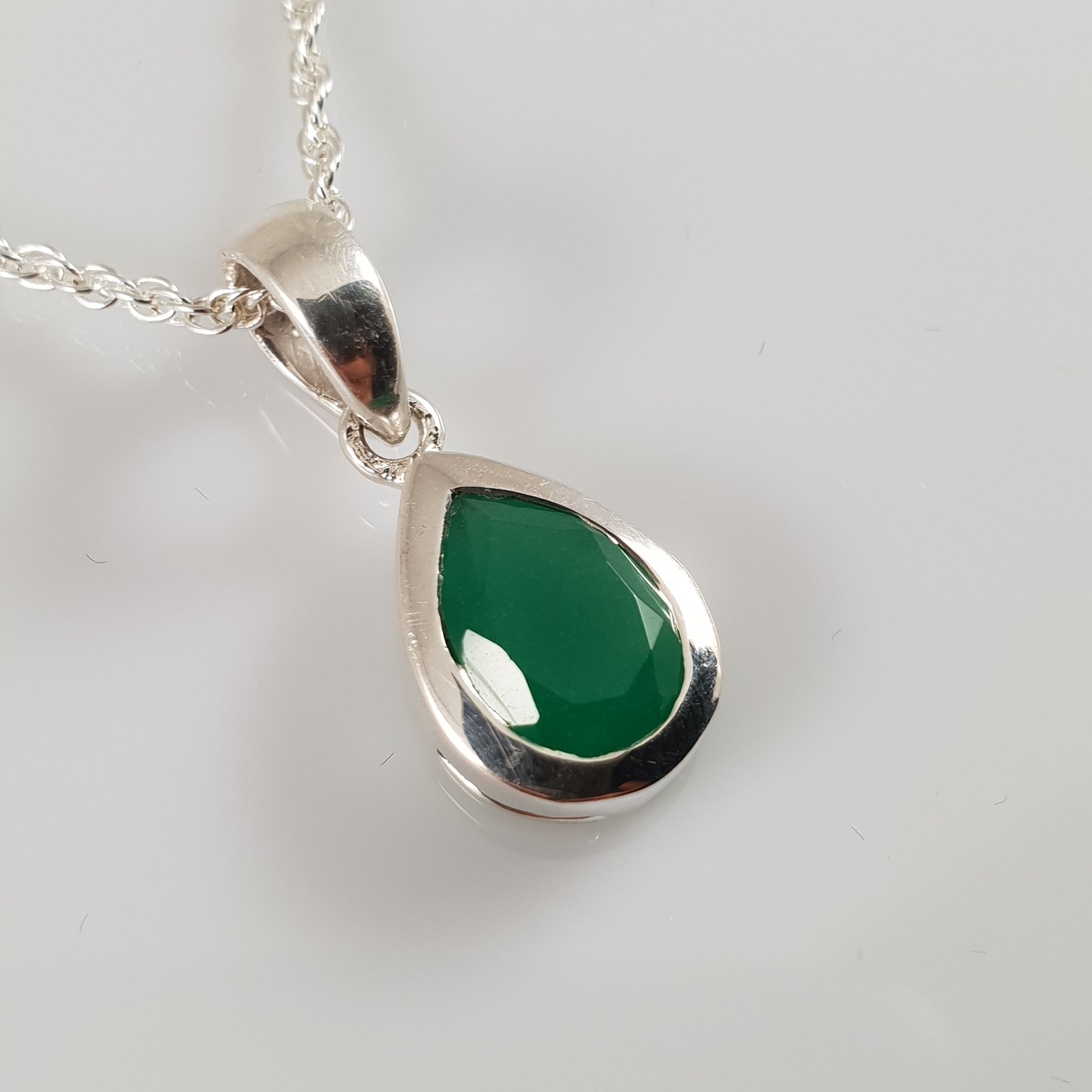 Teardrop Emerald 925 Stirling Silver Pendant - Rivendell Shop NZ