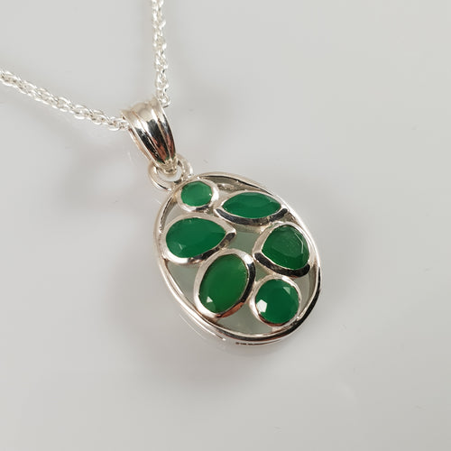 """Feronia"" Emerald 925 Stirling Silver Pendant"