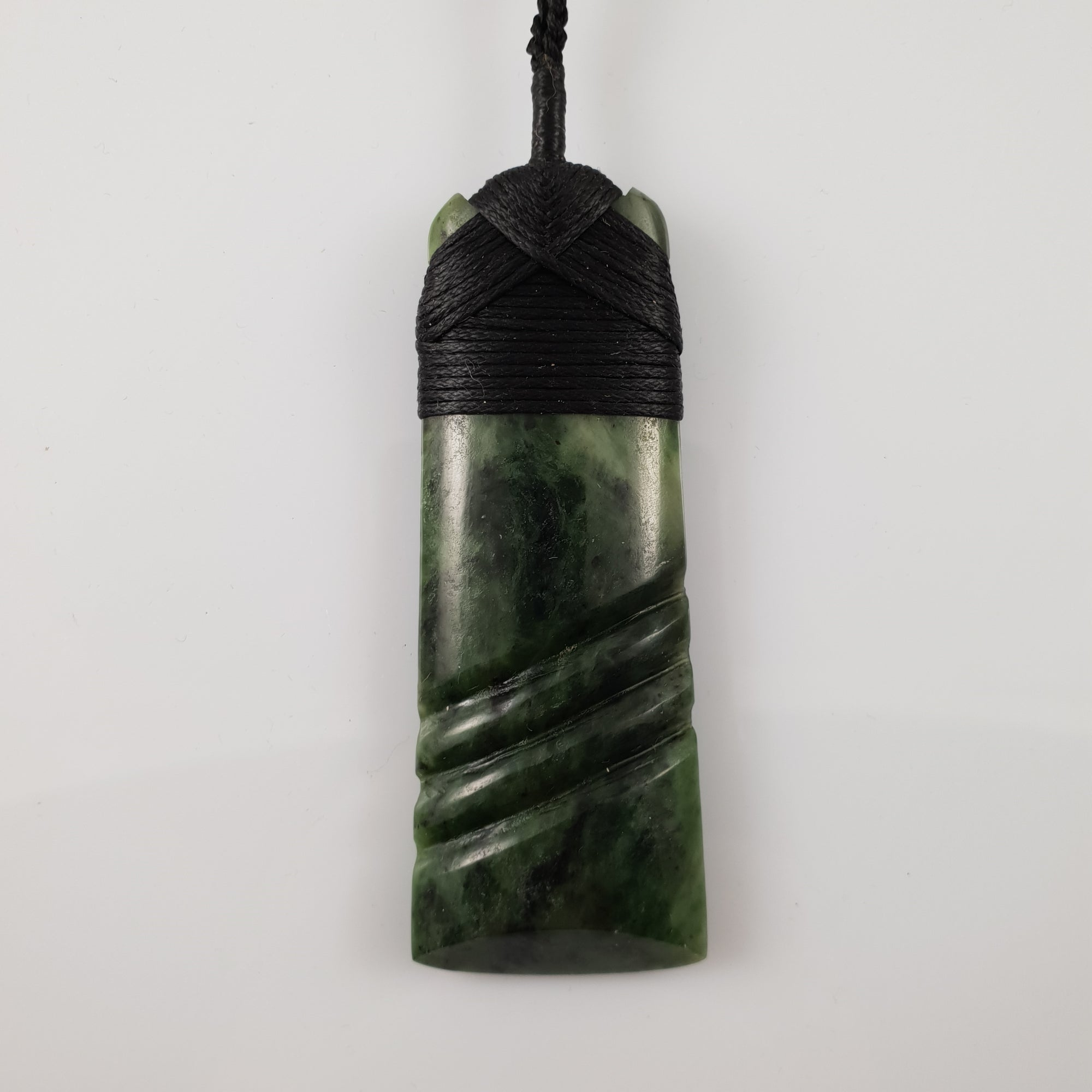 Greenstone Toki Pendant with Carved Detail - Rivendell Shop NZ