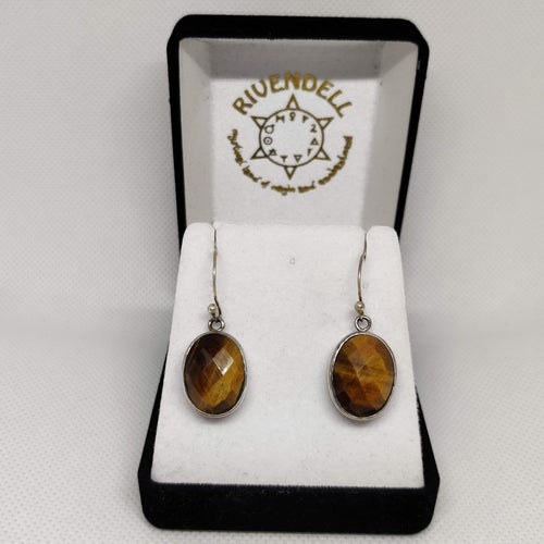Oval Diamond-Cut Tiger's Eye 925 Sterling Silver Earrings - Rivendell Shop NZ