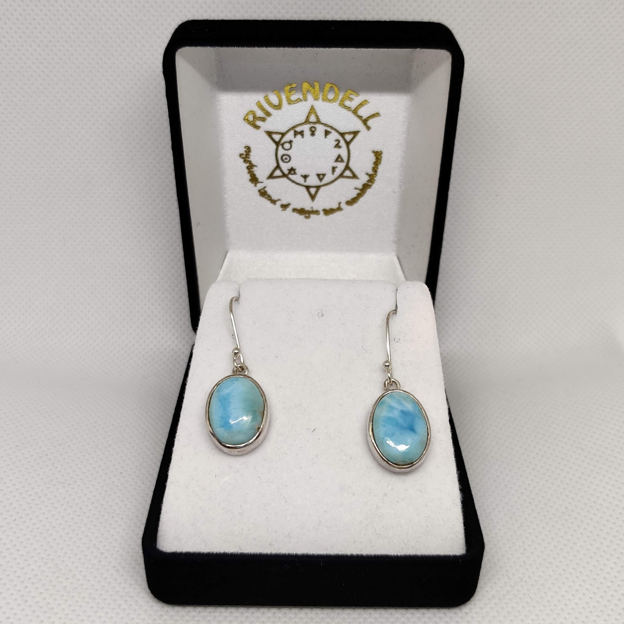 Oval Larimar 925 Sterling Silver Earrings - Rivendell Shop