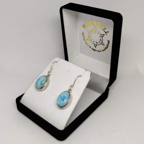 Oval Larimar 925 Sterling Silver Earrings - Rivendell Shop NZ