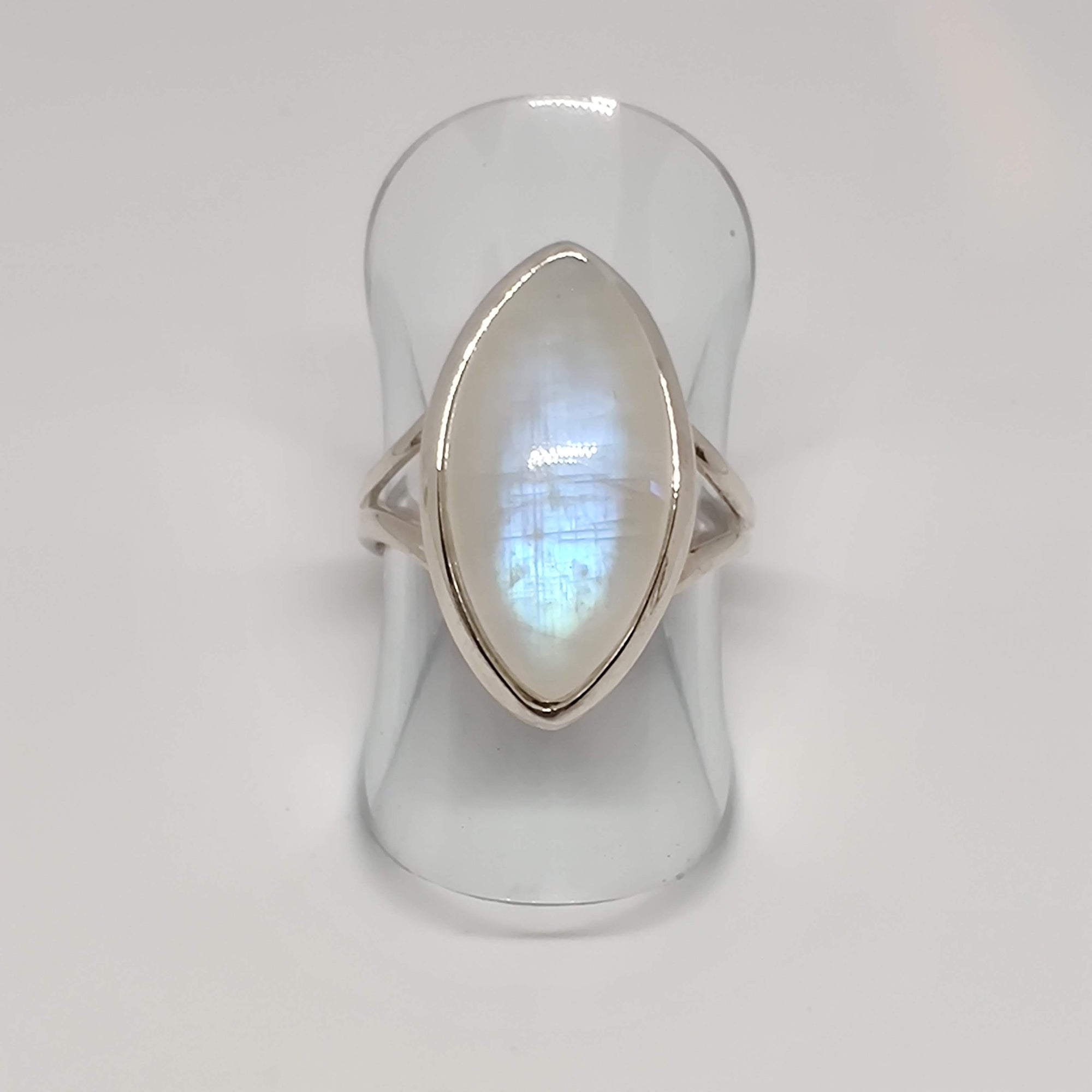 Almond-shaped Moonstone Sterling Silver Ring in bezel setting with split ring - Rivendell Shop NZ