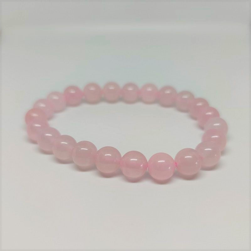 Rose Quartz Round Bead Crystal Bracelet - Rivendell Shop NZ