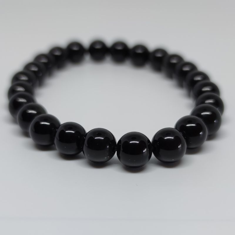 Black Obsidian Round Bead Crystal Bracelet - Rivendell Shop NZ