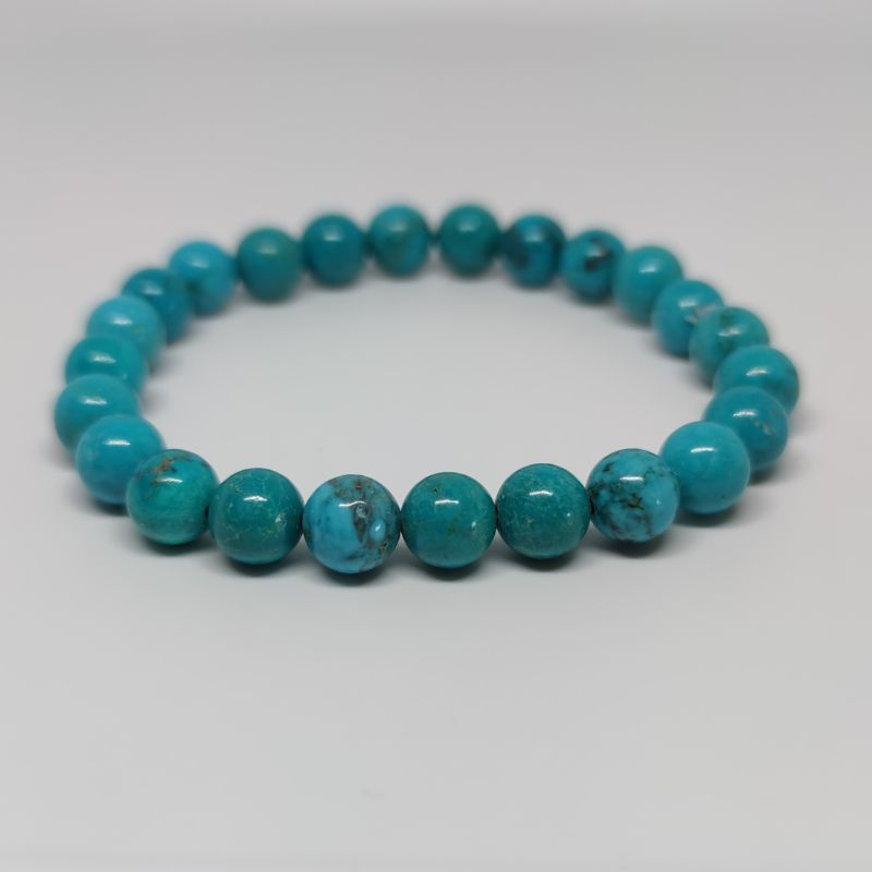 Turquoise Round Bead Crystal Bracelet - Rivendell Shop