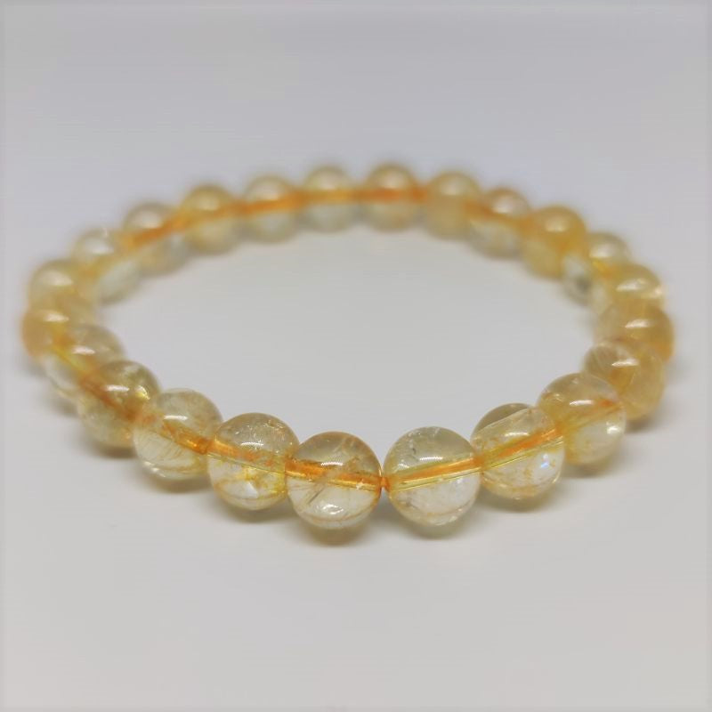 Citrine Round Bead Crystal Bracelet - Rivendell Shop NZ