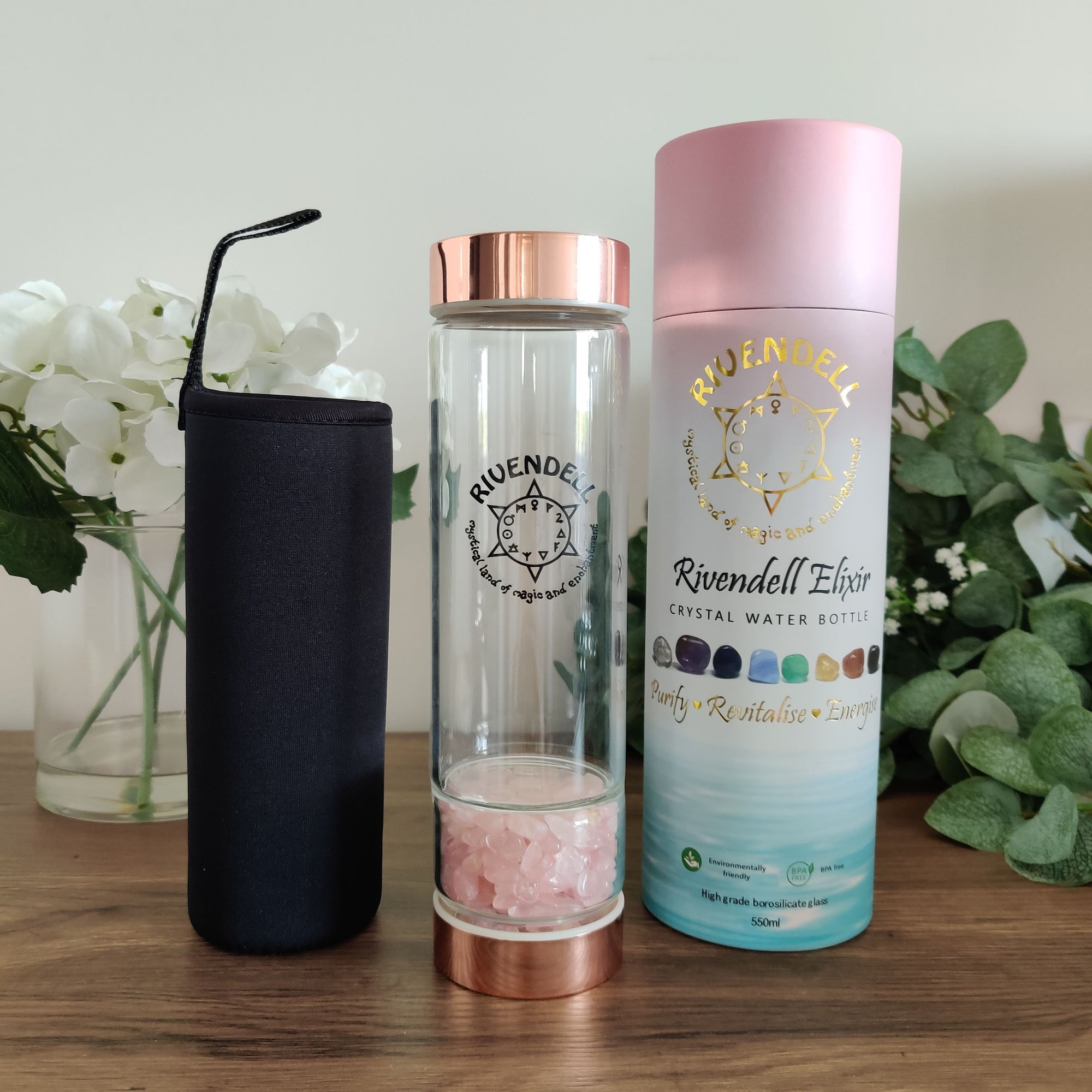 Rivendell Elixir: Rose Quartz Crystal Water Bottle - Rivendell Shop NZ